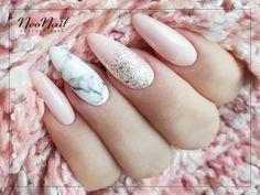 Różowe paznokcie hybrydowe / Marmurek na paznokciach / NeoNail