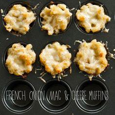 http://iamafoodblog.com/mini-french-onion-mac-and-cheese-recipe/ Lihtsad makaroni muffinid. Hea varjant kui eelmisest päevast järgi jäänud makarone. Minu varjant- klaasitäis keedetud makarone ( ca250gr) 2 spl. pakemat hapukoort 100 gr riivjuustu 1 muna, väike sibul Pipart, soola, ( soovi korral maitserohelist). Haki sibul peeneks, lisa makaronidele muna, hapukoor, maitseained, riivjuust. Sega kõik kokku ja tõsta muffini vormidesse.