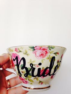 Floral BRIDE tea cup & saucer coffee cup by VelvetCrownDesign
