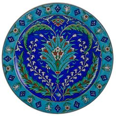 Théodore Deck (1823-1891) Glazed faience charger with Iznik-inspired design, France, 1880s/90s.