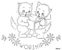 Days of the week kittens - vintage  embroidery pattern (this will link to the remaining 6 patterns)