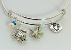 Stackable beach charm bangle antique silver turtle starfish