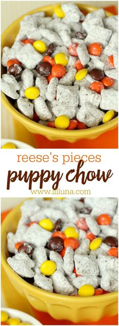 [original_tittle] – Angie LeRoy [pin_tittle] Reeses Pieces Puppy Chow – a delicious snack mix filled with peanut butter, chocolate, cereal and powdered sugar sprinkled with Reese's Pieces! Trail Mix Recipes, Snack Mix Recipes, Yummy Snacks, Best Puppy Chow Recipe, Puppy Chow Recipes, Puppy Chow Snack, Holiday Snacks, Halloween Snacks, Christmas Treats