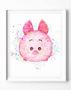 Disney Piglet Print Winnie the Pooh Print Tsum Tsum Party Arte Disney, Disney Art, Disney Drawings, Cartoon Drawings, Tsum Tsum Wallpaper, Pinturas Disney, Disney Princess Quotes, Glitter Pictures, Tsumtsum