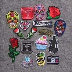 [Visit to Buy] 16pcs fashion different style Mixed skull pattern Clothing Iron Embroidered hot melt adhesive patches DIY Apparel Accessories #Advertisement
