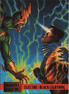 A clash between Black Lightning and the villainous Electro truly Marvel Dc, Marvel Heroes, Marvel Comics, Dc Comics Collection, Comic Book Collection, Polaris Marvel, Marvel And Dc Crossover, Spiderman Pictures, Marvel Cards