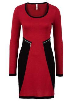 Pletené šaty s niečím výnimočným! Šaty s dlhým rukávom s farebne odlišným zakončením a trendovými zipsovými detailmi v páse, dĺžka vo veľkosti 36/38 cca 90 cm. Vrchný materiál: 100% akryl