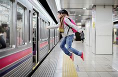 Incredible self-portraits by Japanese photographer Natsumi Hayashi show her flying around Tokyo.      Levitation illusion was achieved by jumping in the air and taking photos using fast shutter speed (faster than 1/500 s) to freeze the action.