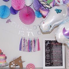 A gorgeous unicorn party put together by @mini_andmummy featuring a @littleglitterco custom unicorn glitter banner I am so in love with unicorn parties at the moment! by littleglitterco