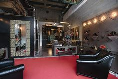 Inside a men's Christian Louboutin boutique.