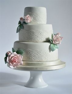 A Classic Three Tier Cake With Beautiful Hand Made Sugar Roses Finished Wide Lace Wedding CakesLace