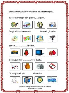 Turkish Lessons, Turkish Language, Autism Classroom, Reggio, Speech Therapy, Special Education, Worksheets, Preschool, Teaching