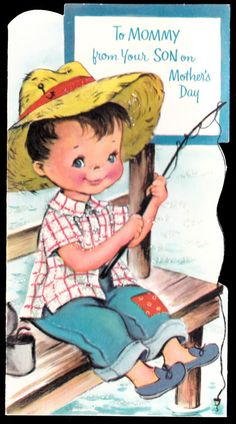 Vintage Fishing To MOMMY from SON  gReeTinG CARD - oLd stOcK Unused Mothers Day