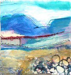 Pastel on fabric Textile Fiber Art, Textile Artists, Fibre Art, Textile Courses, Textiles Sketchbook, Collage Techniques, Creative Textiles, Wool Art, Landscape Quilts