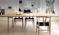 Shop SUITENY for the original Wishbone chair designed by Hans J. Wegner for Carl Hansen & Son and more Danish furniture, midcentury furniture, scandinavian furn Furniture, Interior, Wood Chair, Wishbone Chair, Home Decor, Wegner Wishbone Chair, Wegner Chair, Dining Chairs, Interior Design Shows