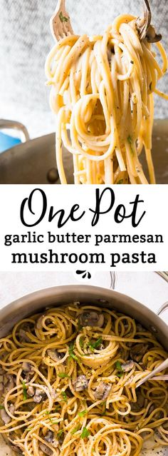 This one pot garlic butter parmesan mushroom pasta is a simple weeknight dinner that's ready in less than 30 minutes with barely any effort! Made with spaghetti, mushrooms, dried herbs, garlic, butter and cheese. Quick to prep and on the table in less tha