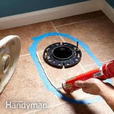 plumbing - setting toilets on tile floors. A master plumber shares his secrets for setting toilets on tile floors. The key is getting a good caulk seal between the toilet and the floor, which prevents rocking and protects against leaks. Home Renovation, Home Remodeling, Toilet Repair, Grout Repair, Diy Bathroom, Remodled Bathrooms, Bathroom Flooring, Bathroom Fixtures, Home Fix