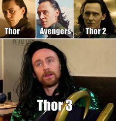 As Thor's hair gets shorter, Loki's hair gets longer. Funny Marvel Memes, Marvel Jokes, Avengers Memes, Loki Thor, Tom Hiddleston Loki, Loki Laufeyson, Loki Meme, Memes 9gag, Dc Memes