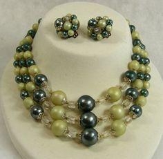 Vintage Japan Necklace Earrings Beads 3 Strand by JellyBellyJewels, #vjse2 #boebot #etsybot2 #vintage #jewelry $19.98