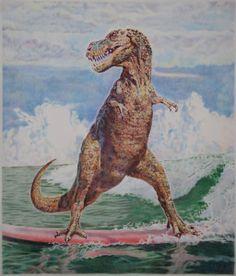 T-rex loves to surf, but paddling out is hard. Surfing Dinosaur by Eric Yahnker-Girl With A Surfboard Jurrassic Park, Street Art, Summer Surf, Surf Art, Arte Pop, Illustrations, Pencil Illustration, T Rex, Prehistoric
