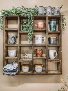 mug display 29 x 29 Display wall Shelf 16 spaces to put coffee mugs, wine glasses, candles, decor and more! Raise your hand if you have coffee mugs overflowing in your cupboard. Raise y Coffee Mug Display, Coffee Mug Holder, Coffee Nook, Coffee Bar Home, Coffee Mugs, Coffe Bar, Coffee Bar Ideas, Coffee Bar Design, Coffee Enema