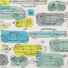 monaluna vintage car organic fabric from the USA blue