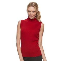 Women's Dana Buchman Sleeveless Turtleneck Top, Size: Medium, Dark Pink
