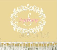 Mint And Coral Are Beautiful Together Baby Girl Name Wall Decal - Monogram wall decal for nursery