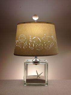 Lampe de bloc de verre avec main coupe Seashell abat-jour - à remplir - remplir votre propre - percé abat-jour - Accueil & vie-