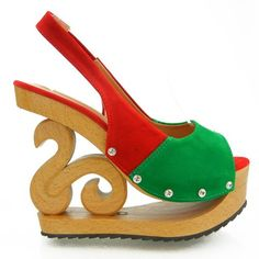 #Shoes - Show Story Slingback Open Toe Wooden Wedges Platform Clogs Party Pumps,LY11801 [Buy Now: $29.99 - $42.99]