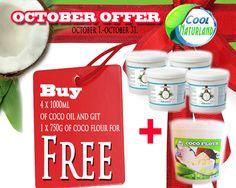 GESCHENK!!!!! Kaufen 4 x Kokosöl und geschenk Kokosmehl 750g