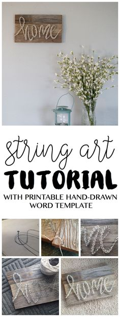 DIY String Art Tutorial Free Pattern Template Home String Art Home Decor Vintage Pallet Barn Wood Style Easy Project Decorating #DIYHomeDecorVintage