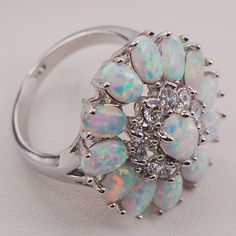 White Hearth Opal Australia 925 Sterling Silver Lady Jewellery Ring Measurement 6 7 eight 9 10 11 F577 - Silver Jewellery 925 - SHOP NOW