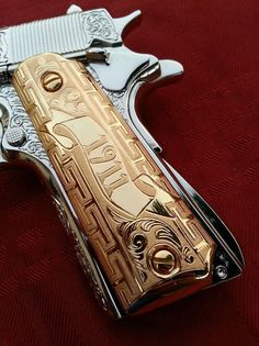 """1911 German Silver Versace"""" Gold Plated Handmade Grips 45/38 super Colt S&W - Google Search"""