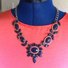 Host Pick! JCrew statement necklace Dark blue and coral color stones J. Crew Jewelry Necklaces