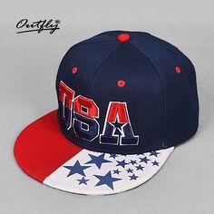464286535a9 usa cap flat Snapback Hip Hop hat Popular Baseball Cap cotton American flag  Hat Adjustable men