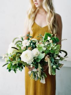 cream, champagne and green wild bridal bouquet