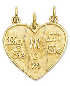 """Perfect for all the wonderful women in your life. This break-apart charm comes in three parts that feature the words """"Big Sis"""", """"Mom"""" and """"Li'l Sis"""". Crafted in gold. Sister Bracelet, Sister Jewelry, Friend Jewelry, Daughter Necklace, Cute Jewelry, Charm Jewelry, Etsy Jewelry, Jewelry Ideas, Jewelry Gifts"""