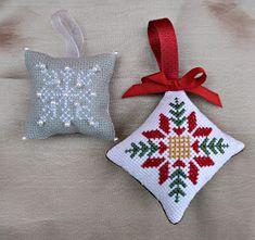 Brilliant Cross Stitch Embroidery Tips Ideas. Mesmerizing Cross Stitch Embroidery Tips Ideas. Embroidered Christmas Ornaments, Cross Stitch Christmas Ornaments, Xmas Cross Stitch, Cross Stitch Pillow, Cross Stitch Heart, Christmas Embroidery, Christmas Cross, Cross Stitching, Cross Stitch Embroidery