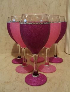 6 pink glitter wine glasses