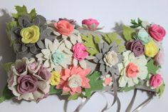Beige Linen, Felt Flowered Pastel Pink, Yellow, Purple Colors, Rectangle Floral Wedding Ring Bearer Pillow. $70.00, via Etsy.
