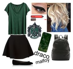 """""""Draco Malfoy: Girl Version"""" by potato-swan77 ❤ liked on Polyvore featuring H&M, Neil Barrett, LORAC, Hourglass Cosmetics, Frye and Casetify"""