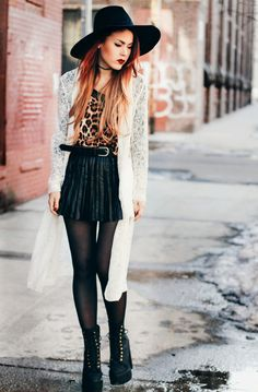 When in doubt, I just throw on my favorite elements: leopard, lace and leather.