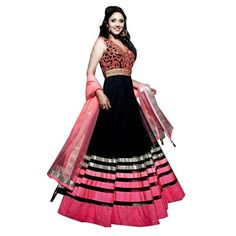Exquisite Black Color Georgette Semi Stitch Anarkali Dress comes with Matching color Bottom, Pink Color Dupatta. It contained the Embroidery work with lace border. The Semi Stitch Suit can be customized up to bust size 44