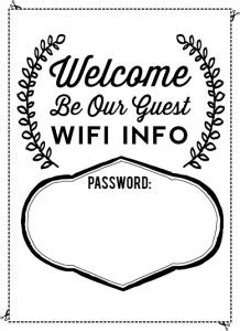 Free Printable Wi Fi Password For Guests Put It In A Cute Frame