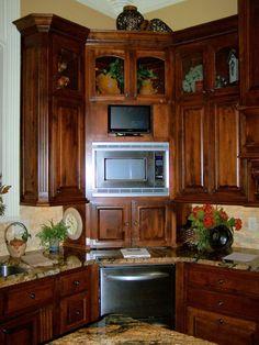 Cabinet Design For Kitchen corner built-in microwave cabinet, with glass door upper