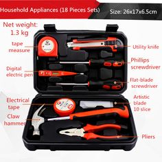 18 pieces, household tools set electrician maintenance manual #Affiliate