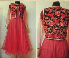 Coral anarkali with complimentary koti
