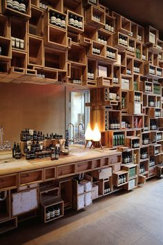 Great visual display. Great for a wide range of products. Not so good for customers and a lot of dusting- but great for visual intereat.   Aesop San Francisco