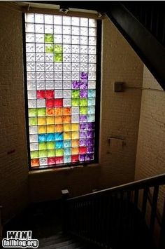 A Tetris window--cool! Maybe this is what we should put on the Activity Room wall... by beth